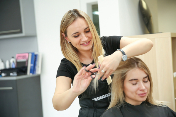 Hair Stylist With Client at Salon in 2019
